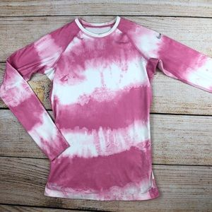 Pink fitted Nike Pro combat pink tie dye shirt XS